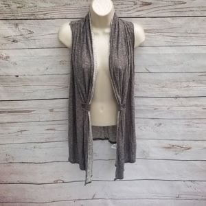 Vintage Havana Taupe Gathered Open Cardigan